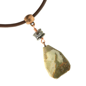 Unisex Petrified Wood Faceted Pendant Necklace Leather Cord Copper Wire Wrap