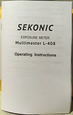 Sekonic Zoom Multimaster L-408 Owner's Operating Manual Instructions