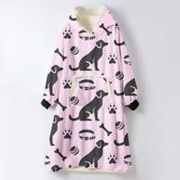 Pink Hoodie Blanket Oversized Sherpa Fleece Giant Big Hooded Sweatshirt Labrador