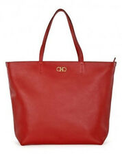 Salvatore Ferragamo Gina Pebbled Leather Satchel Tote Red