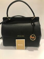 $348 MICHAEL KORS WOMEN TALIA LG TOP HANDLE LEATHER SATCHEL BAG BLACK COLOR