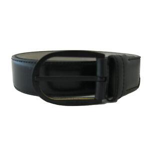 J-4103100 New Salvatore Ferragamo Black Leather Buckle Belt Size 42 Fits 40