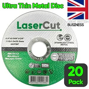 """20 x 115mm 4.5"""" ULTRA THIN METAL CUTTING BLADE DISC 1/2"""" STEEL & STAINLESS 1MM"""