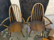 Pair Of Vintage Ercol Windsor Quaker Armchairs 365A / Carver Dining Chairs CM7