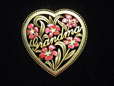 "Pewter 'Grandma' Floral Heart Pin ""Jj"" Jonette Jewelry Antique Gold"