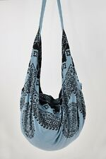 NEW Women's Tote Bag Purse Bohemian Boho Hobo Hippie Beach Bag Steel Blue NEW