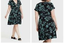 d5a1b1ec8254a Torrid Black Floral Jersey Knit Faux Wrap Dress 4x 26  44518