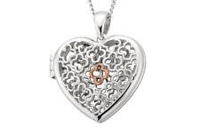 "Locket Sterling Silver 22"" Clogau 925 Heart Tudor Court Welsh Rose Gold Pendant"