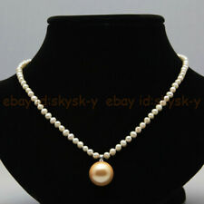 4-5mm Natural White Pearl & 14mm Round Yellow Shell Pearl Pendant Necklace 18''