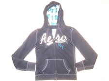 Aeropostale Hoodie NY Embroidered Blue Green White Gray Sweater Womens Size S/P