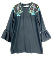 Zara Women's Size Large Black Embroidered Long Bell Sleeve Casual Shift Dress