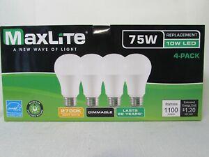 4 pack New 75 Watt Equivalent A19 LED Light Bulbs Dimmable SOFT WHITE 2700K