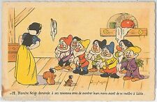 DISNEY - FRANCE -  VINTAGE  POSTCARD :  Snow White and 7 Dwarfs
