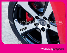 VW GOLF GTD SYMBOL LOGO ALLOY WHEEL DECALS STICKERS GRAPHICS x5 IN BLACK VINYL