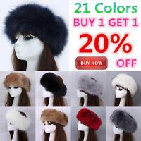 Women Lady Russian Fluffy Fox Fur Hat Headband Winter Earwarmer Ski Hat Snow Cap