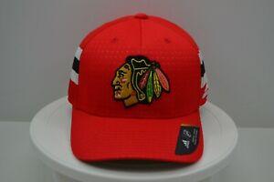 Chicago Blackhawks Adidas 2017 Draft Stretch Fit Hat Red Size L/XL Cap NWOT