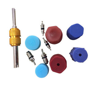 Auto R134a Air Conditioning Valve Core A/C System Caps Kits W/ Remover Tool