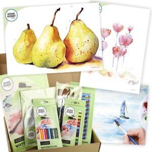 HomeHobby by 3L Watercolor Studio Kit Step by Step Three Pears Beginners Art Set