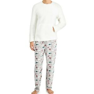Matching Family Outfits Men's Size Large Christmas Pajama Set Polar Bears Sherpa