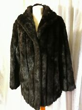British Made Very Black Brown Faux Fur Coat Size 14 to Cover Your Bum