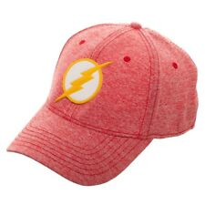 DC COMICS THE FLASH RUBBER LOGO FLEX FIT CATIONIC CURVED BILL STRETCH HAT CAP