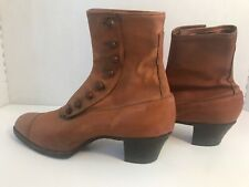 Antique Womens VictorIan Era Brown Leather Button-Up Ankle Boots Complete