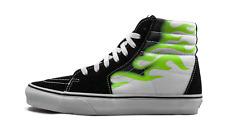 Mens Vans Sk8 Hi Flame Fire Skate Shoes Sneakers Black White Green Neon