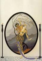"Chic Original Vintage Erte Art Deco Book Plate Print ""Woman and Satyr"""