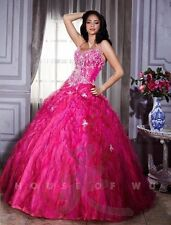 Tiffany 26662 Quinceanera Fuchsia Bubble Gum Pink Ball Gown Dress sz 8