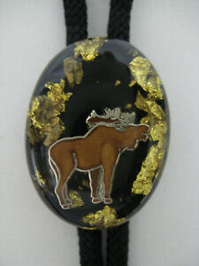 Vintage Bolo Tie Moose Elk Pendant Necklace Gold Resin Gift Jewelry Hunting