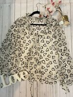 Chesca Size 18 100% silk heart patterned floaty riddle top cream off white VGC