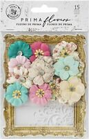 Prima Marketing Misty Rose Mulberry Paper Flowers Ashby W/Stencil Multicolored