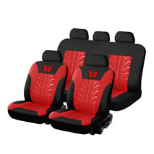 Black/Red Car Seat Covers - 9 Pieces Front & Rear Full Interior Accessories