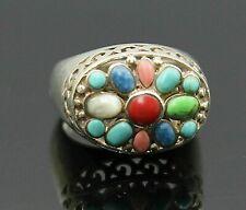 Set Sterling Silver Ring Sz 6 Vintage Multicolored Gemstones Pierced Swirl High