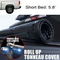 Fits 04-07 Silverado/Sierra 5.8 Ft Bed Roll-Up Soft Tonneau Cover+16X LED Lights