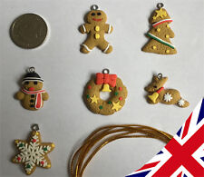 Set of 6 Small Christmas Tree Decoration Ornament -  Polymer Clay