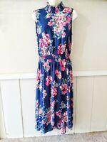 NWT Nanette Lepore Women's Smocked Sleeveless Floral Blue Shift Dress Size 10