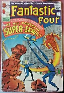 vtg 1963 FANTASTIC FOUR comic book #18 - 1st appearance of super-skrull - marvel