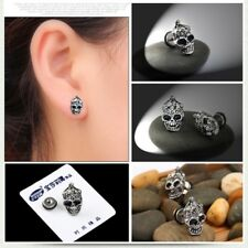 Vintage Skull Head Ear Piercing Stud Titanium Steel Earrings Hip Hop Ghost Studs