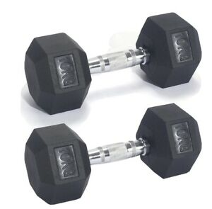 2 x 10kg Hex Rubber anti roll Dumbbell Weight Set - Pro Fitness (Total 20kg)