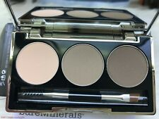 BARE MINERALS ARCH & DEFINE BROW PERFECTING PALETTE 3 COLORS BRUSH PALETTE NEW