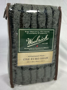 Woolrich Euro Sham 26x26 Charcoal Gray Cable Knit Polyester
