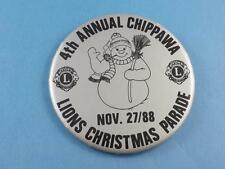 LIONS CLUB CANADA CHIPAWA XMAS PARADE 1988 SNOWMAN PIN PIN BACK VINTAGE BUTTON