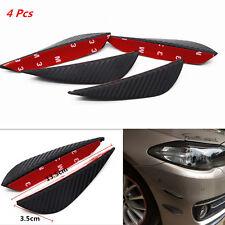 4Pcs Rubber Carbon Fiber Pattern Car Front Bumper Fins Lip Decor Splitters Wings