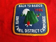 BOY SCOUTS KNOX TRAIL DISTRICT 1986 CAMPOREE VINTAGE PATCH BACK TO BASICS