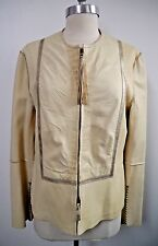 HENRY BEGUELIN ivory leather zip front jacket Italian size 44 WORN ONCE