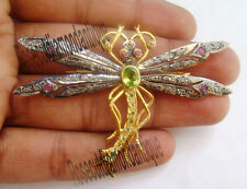 HAND-MADE ANTIQUE ROSE CUT DIAMOND 0.94ct RUBY PERIDOT BUTTERFLY DESIGN BROOCHES