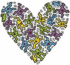 """HARING, KEITH - UNTITLED, 1985 HEART - ART PRINT POSTER 19"""" X 13"""" (2701-2)"""