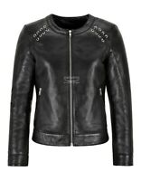Ladies Leather Jacket Classic Collarless Casual Fashion Real Leather Jacket 5350