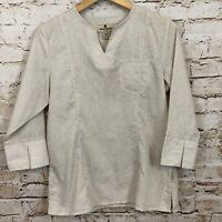 Woolrich Deandra tunic shirt top womens medium petite stone new 3/4 slv vneck HO